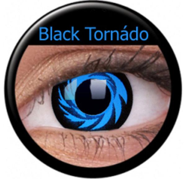 ColourVue Crazy šošovky - Blue Tornado (Black Tornado) (2 ks ročné) - nedioptrické