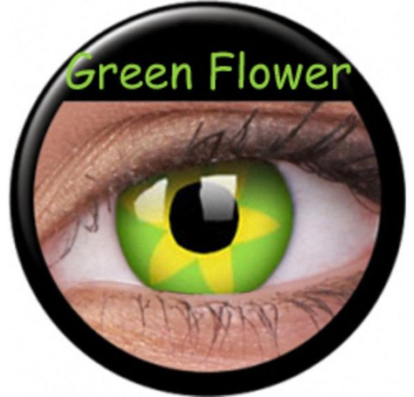ColourVue Crazy šošovky - Green Flower (2 ks ročné) - nedioptrické