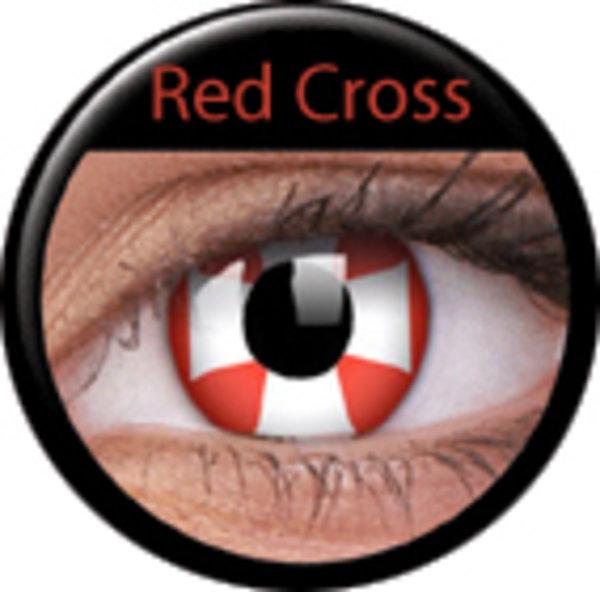 ColourVue Crazy šošovky - Red Cross (2 ks ročné) - nedioptrické