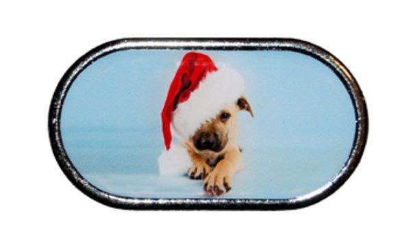 Púzdro so zrkadielkom Vianočný motív - Šteňa s čiapkou cez oko
