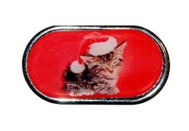 Púzdro so zrkadielkom Vianočný motív - Mačiatko v čiapke