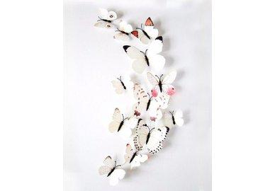 Dekoratívne motýle na stenu 3 kusy - farba biela