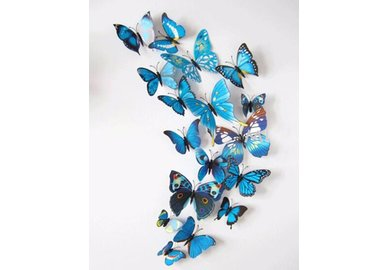 Dekoratívne motýle na stenu 3 kusy - farba modrá