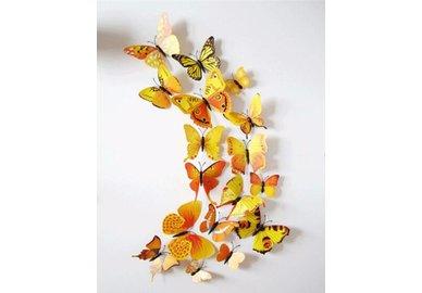 Dekoratívne motýle na stenu 3 kusy - farba žlto-oranžová