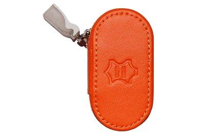 Kožené púzdro so zrkadielkom - Oranžovej